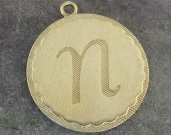 Large Round Brass Letter N Initial Charms for Bracelets or Pendants 1473N - 2 Pieces