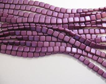 2 Hole Tile Beads 6mm Bordeaux Purple CZTWN06-25032AL- 25 beads