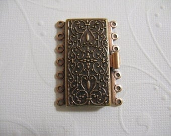 Vintage Look  Copper Plated Brass 36mm x 26mm Clasp - 7 strand -  1 Clasp - nickel free, lead free