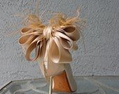 Bridal Party Wedding Nude/Beige Satin Ribbon Bow And Feather Shoe Clips Set Of Two