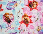 Disney Frozen Fabric Princess Anna Princess Elsa Olaf combo   50  cm by 50 cm or 19.6 by 21 inches each color