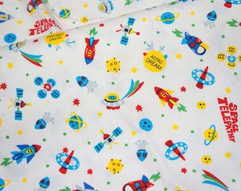 Japanese Fabric Space ship print 50 cm by 106 cm or 19.6 by 42 inch Half meter   (hb4)