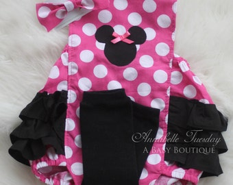Romper Only Minnie Mouse Pink Ruffled Bottom Bubble Romper Baby Girl