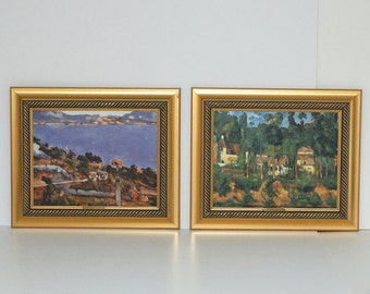 Impressionist Paul Cezanne Framed Textured Prints, Pair