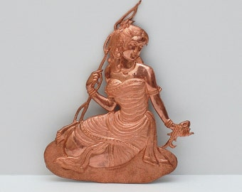 Indo Persian Solid Copper Hand Engraved Young Maiden Catching a Fish Plaque
