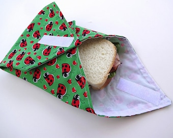 Reusable Sandwich Wrap Green Ladybug
