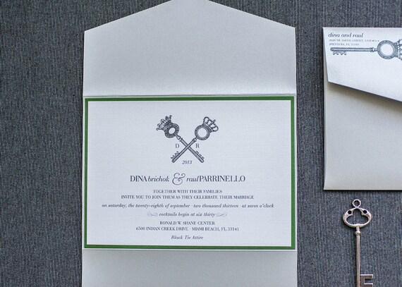 Key Themed Wedding Invitations: Vintage Key Wedding Invitation Green Invitation By LamaWorks