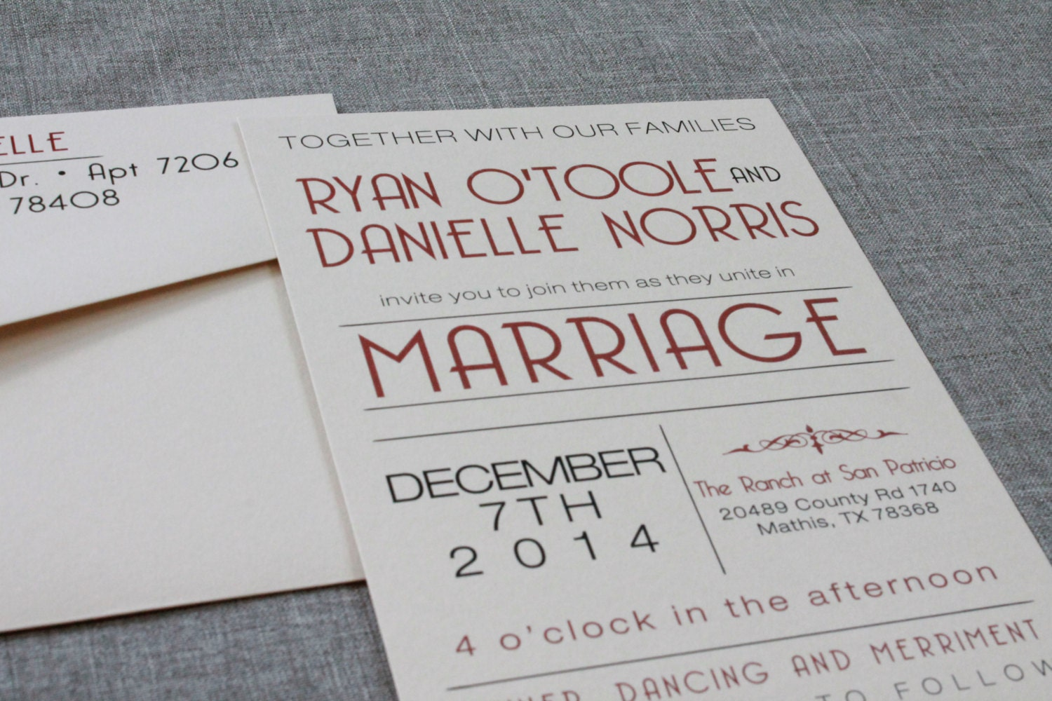 Flat Art Deco Wedding Invitation – Casual, Red Wine and Mocha Brown ...