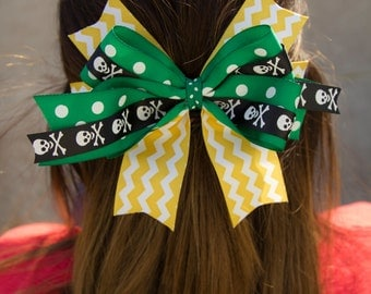 School Spirit Hair Bow with Anti-Slip Clip-Green and Gold