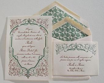 Letterpress Wedding Invitation DEPOSIT, French Wedding Invitation, Wedding Invitations, Fleur-de-Lis, Wedding Fleur de Lis Invite