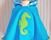 Hooded Towel Seahorse Swimsuit Cover Up Lime and Aqua Terry Girls Beach Apparel 12mos-2T, 3/4T, 5/6 - by The Trendy Tot