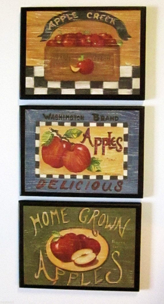 Apple signs set of 3 kitchen wall decor plaques home grown for Apple kitchen decoration set