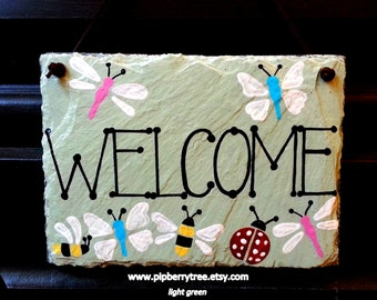 Ladybug Bee Butterfly Dragonfly Hand Painted Decorative Welcome Slate Sign/Butterflies and Bees Welcome slate Sign/Ladybugs and Dragonflies