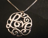 sterling silver, love, necklace, womens jewelry, charm, gift ,jewelry