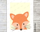 Boy cute fox wall art print, great for a nursery