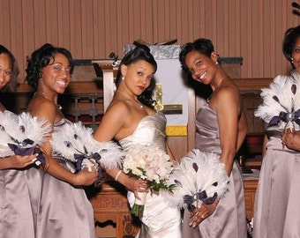 Ostrich Feather Fan Bridesmaid Bouquets in your choice of accent colors