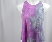 Happy Day in Silver, Pale Amethyst, and Lilac. A Hand-dyed High Neck Modal/Cotton Tank (small)