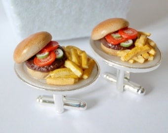 Hamburger Dinner with Fries Cufflinks - Miniature Food Art Jewelry - Schickie Mickie Original 100% handmade