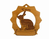 Tan  Rabbit Personalized Wood Ornament - gclasergraphics