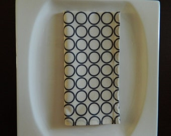 "Grey on Cream Contemporary Napkins. ""Metro Circles in Cream"". Set of 4 Napkins. Every Day Napkins."