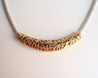 1 Tibetan Antique Gold Curved Tube Bead, Jewelry making Supply, Filigree, Lead Free, Nickel Free