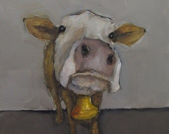 BELL of the Ball -  COW - Giclee print from my original oil painting -  Farm Folk Art