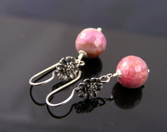 Pink Sapphire Earrings, Large Natural Pink Sapphire Beads, Flower Earrings, Sapphire and Sterling Earrings, Pink Sapphire Jewelry, SALE