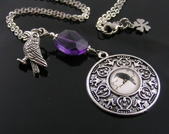 Magical Raven Necklace with Faceted Amethyst, Good Luck Necklace, Raven Pendant, February Birthstone Necklace, Raven Jewelry, N1190