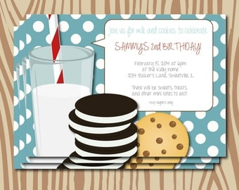 Milk and cookies party invitation, printable milk and cookie birthday party, retro birthday party invitation, baby shower invitation
