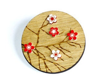 Wooden Red and White Cherry Blossom Brooch - Tasmanian oak timber wood and acrylic contemporary Japanese style floral and tree branches pin