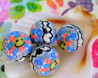 Sale  Organic Polymer Clay Beads Round  beads 10mm-Fancy handmade Floral beads- Floral Purple ren pink Navy Blue colors