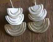 Tree Mushroom Dangles in sterling and 14K gold