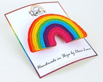 Rainbow Brooch - A funky felt appliqued brooch / pin.