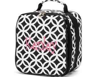 SAL E-Black Sadie Lunch Bag-Black Geometric Lunch Bag-includes Monogram-Insulated Lunch Bag-Insulated Cooler-Lunch Box