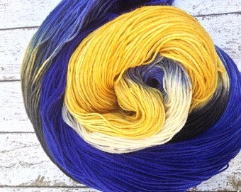 Peeta. Hunger games inspired sock yarn  dyed to order just for you