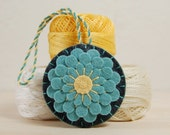 Scissor Fob • Blue Dahlia on Grey Wool Felt • Hand Embroidered • Scissor Charm