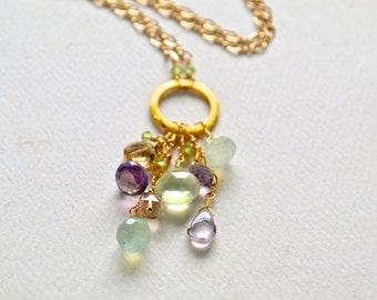 Table Grapes Necklace - spring gemstone necklace, gold purple green necklace, amethyst, prehnite, handmade jewelry, tassel necklace
