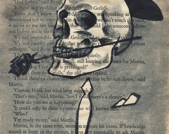 Sale - Mr Skeleton - original painting on vintage page