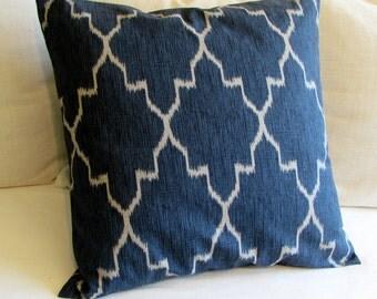 MONACO SAPPHIRE blue ikat 18x18 20x20 22x22 24x24 26x26 pillow cover