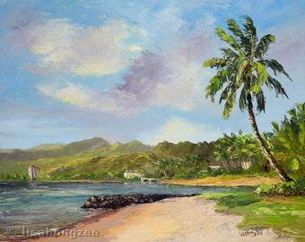 PORTLOCK HAWAII KAI Original Oil Painting Art Maunalua Bay East Oahu Hawaiian Tropical Palm Tree Ocean Beach Koolau Mountain Surf Honolulu