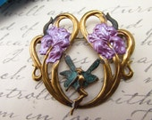Art Nouveau French fairie brooch vintage lilly flower enamel brooches pins Flower fairy pin