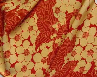 Vintage Japanese Kimono Silk Big Creamy Yellow Blossom, Little Flowers and Leaves 60ins