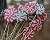 Handmade Christmas Drink Stir Stick with Large Glitter Peppermint Candy - Limited Edition Set of 6
