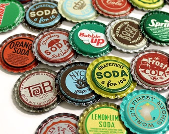 50 FLAT Vintage & Vintage Inspired Random Bottle Caps Collectible Craft Jewelry Coke Soda Bottlecaps