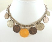 VINTAGE 15 inch Foreign Coin 1950's Bib chain necklace choker
