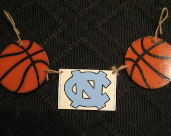 Basketball Wood 3 piece Charm with Rope for Welcome Sign or Wreath-- Your Choice of Team