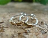 Hoop Earrings Silver Split Wrap Gold Bead Little Hoop Earrings/Beaded Hoops/Gold Hoop Earrings/Silver Hoop Earrings/Minimal Hoops/Dainty