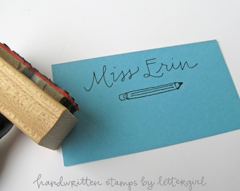Handwritten Teacher Name Stamp with pencil illlustration