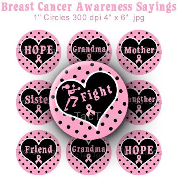 Breast Cancer Awareness Sayings Bottle Cap Images Digital Set 1 Inch Circle Pink Ribbon 4x6 JPEG - Instant Download - BC198