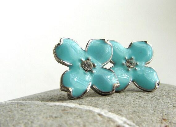 Blue Hydrangea studs, enamel flower studs, bridesmaid jewelry, wedding bridal jewelry, rhinestone post earrings, four petal studs